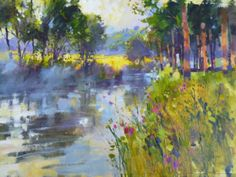 Misty Summer Morning The Mole Leatherhead – by Artist Chris Forsey Abstract Landscape, Landscape Paintings, Abstract Art, The Mole, Ways Of Seeing, Painting Gallery, Trees, Watercolor, Drawings
