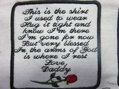 Rose Memory Pillow Patch for Shirt, Bear, Quilt, Pillow can be customized, sew on or iron on.This is the shirt...