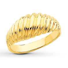 SCALLOPED RING 14K YELLOW GOLD. This domed ring for her features a scalloped design. The ring is styled in stunning 14K yellow gold.