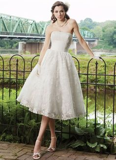 Ivory Brocade Organza Strapless Tea Length Wedding Dress