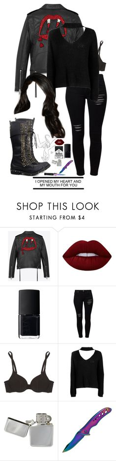 """""""melanie mendez ;;riverdale"""" by demiwitch-of-mischief ❤ liked on Polyvore featuring Yves Saint Laurent, Lime Crime, NARS Cosmetics, Gestuz, Cosabella, Boohoo and Whetstone Cutlery"""