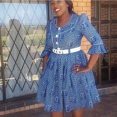 Latest Shweshwe 2020 for South Sotho Dresses - isishweshwe African Formal Dress, African Attire, African Wear, African Dress, African Style, African Beauty, Setswana Traditional Dresses, South African Traditional Dresses, Latest African Fashion Dresses