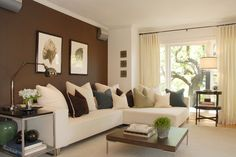 Creative Accent Wall Colors Ideas for Dining Room: Comfortable Brown Themed Modern Family Room Idea Furnished With White Sectional Sofa Coup...
