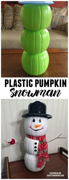 Use plastic pumpkin buckets from Halloween to make a cute snowman decoration for Christmas!