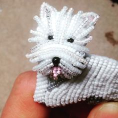 Busy #beading another #Westie pin! Here you can see how my layered #beaded fringe really makes the #dog come to life! Interested in making your own? Patterns for this #design are available for #sale on #Etsy and #Amazon. Thanks for looking! #thelonebeader #beadembroidery #beadwork #tutorial #howto #jewelry #handmade #dogs #westhighlandwhiteterrier #westminster #perro #animal #pattern #pendant #pets #videos