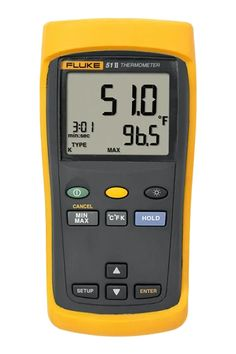 The Fluke 51 II single input digital thermometer delivers fast response with laboratory accuracy. Measure contact temperature with industrial standard J, K, T, or E-type thermocouple temperature sensors
