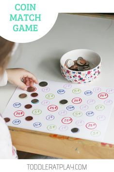 """This Matching Game was a huge success! First, because this was my first introduction of """"coins"""" to Alina and she actually, absolutely, suprisingly LOVED IT! And second, because it was so easy to set up yet it captured her attention for quite a while an Preschool Learning, Fun Learning, Teaching Kids, Kindergarten Fun, Toddler Learning Activities, Preschool Activities, Money Activities, Educational Activities, Learning Money"""