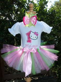 Hello Kitty Birthday Outfit-ANY Number includes Shirt, Tutu and Hairbow-NAME FREE