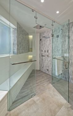 Master bathroom - Shower with bench in Modern Home in Southern California - Architecture / Interior Design