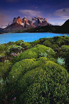 Cuernos del Paine at dawn from Lago Pehoe, Patagonia (Chile, 1991) - Galen Rowell