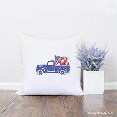 American Flag Truck, Throw Pillow, Pillow Cover, Farmhouse Pillow, Home Decor, Gift, Housewarming Gift, Pillow