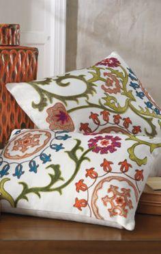Embroidered Suzani Throw Pillow.
