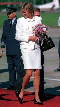 Princess Diana wearing Lady Dior & carrying her Lady Dior handbag