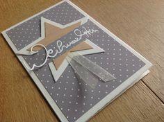 Weihnachtskarte, Alexandra Renke, Furnierholz, Stern, Wortstanze, herausspringende Schrift, Stampin'Up,