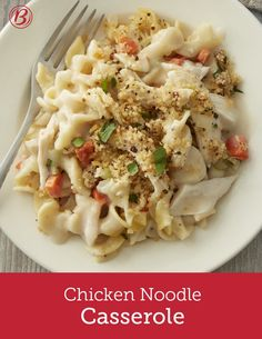 If you like chicken noodle soup, you'll love this casserole inspired by the soup! It's the definition of cozy with creamy sauce, egg noodles and plenty of chicken and veggies. The crispy Parmesan-bread crumb topping is not to be skipped!