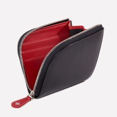 Ettinger London - Luxury Leather Goods - Sterling Zipped Curved Wallet with Key Strap in Black & Red