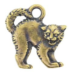 18x17mm Ant Brass Pltd Pewter Scary Cat Charm | Fusion Beads