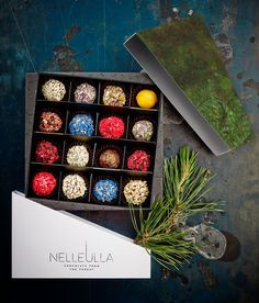 Selection of truffles from NELLEULLA chocolate boutique, Riga.