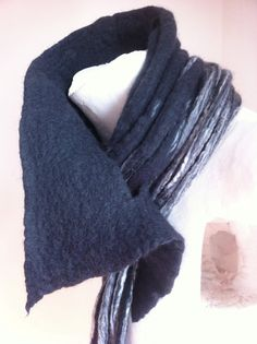 Cowl Scarf Lariat Style in Black Grey and White by ChambreRouge