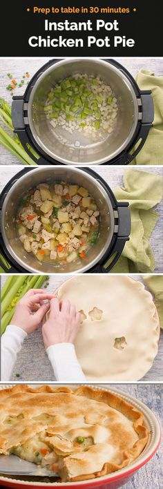 Instant Pot / Pressure Cooker Chicken Pot Pie features a creamy filling of hearty potatoes, tender chicken, peas, carrots and celery under a flaky golden pie crust. You won't believe how easy it is to put together! | Recipe from #PressureCookingToday | via @PressureCook2da Power Pressure Cooker, Pressure Cooker Chicken, Instant Pot Pressure Cooker, Pressure Cooker Recipes, Pressure Pot, Chicken Cooker, Chicken Pot Pie Filling, Pressure Cooking Today, Potted Beef Recipe