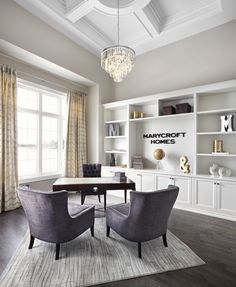 Library/Home Office of Luxury! 15' detailed ceilings