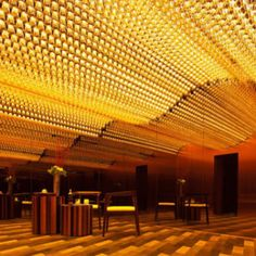 Ceiling, organic, backlit, waves, movement, glass, wood flooring, luxurious, excess, glamour, grand, entrance