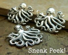 Let these sterling silver Octopi get their arms around your next necklace design. New at http://www.ninadesigns.com/bali_bead_shop/sterling_silver_octopus_pendant/a1201/details
