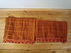 Vintage 2 Window Valance Open Weave Orange Rust Pom Pom Trim 2 Sizes | eBay