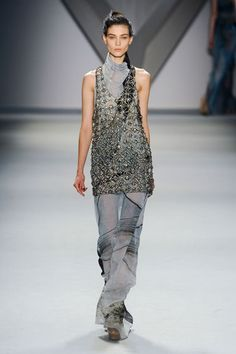 Vera Wang F/W 2012  I love the mix of a sheer turtleneck maxi dress and the embellished chain mail tunic--interesting together, but would be even better apart.