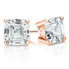 c46041701 Certified 14k Rose Gold 4-Prong Basket Asscher Cut Diamond Stud Earrings  2.00 ct. tw. (G-H, VS2)