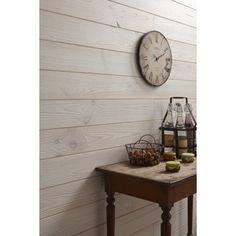 Lambris bois pin brossé noueux blanc ARTENS, 200x13cm, ép. 13mm   Leroy Merlin