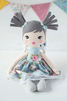 Rag Dolls, Fabric Dolls, Ballerina Doll, Blue Birthday, Handmade Baby, Puppets, Doll Clothes, Sewing Projects, Organic