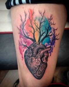 Tattoo de hace unos días...☝ #alemerlostattoo #timetattoostudio #watercolortattoos #corazontattoo #tattoopeople #tattoomardelplata