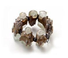 Terhi Tolvanen Bracelet: Skyline, 2012 Silver, aquamarine, cherry wood, cement, paint Ø 9cm