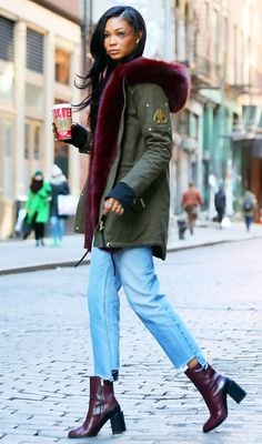 nice Chanel Iman in a Moose Knuckles parka, distressed jeans and booties - click through to see more cele... Celebrity Style Check more at http://pinfashion.top/pin/54891/