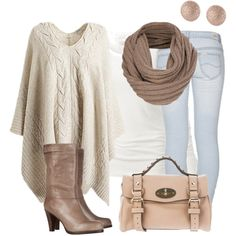 LOVE that cableknit poncho, but I'd wear a different texture/print in the scarf, dark jeans, flat boots & big hoop earrings.