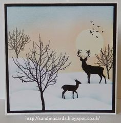 """By Sandma. Masking and sponging. Stamps are """"Bare Trees"""" and """"Silhouette Deer,"""" both by Inkylicious."""