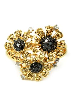 Two-Tone Yellow, Black & White Diamond Triple Flower Ring - 0.48 ctw by Savvy Cie on @HauteLook