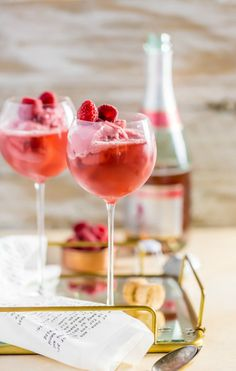 Save this boozy recipe to make Raspberry Pink Champagne Floats.