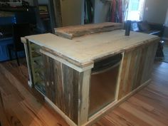 Beetle pine kitchen island with built in beer tap and breakfast bar