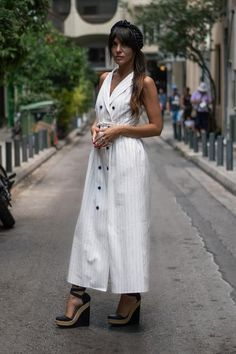 Stripped Dress, Parisian Chic, Striped Linen, Double Breasted, White Dress, Fabric, Model, Cotton, Dresses
