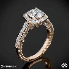 18k Rose Gold Verragio Beaded Halo Diamond Engagement Ring