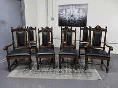 Antiques By Design - Victorian Set / 8 Quartered Oak R J Horner Carved Dining Chairs Antique Dining Chairs, Victorian, Carving, Antiques, Furniture, Design, Home Decor, Antiquities, Antique