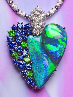 Dreamtime Jewelry: Black Opal 7.850 cts., Sapphire, Demantoid Garnet, Diamond