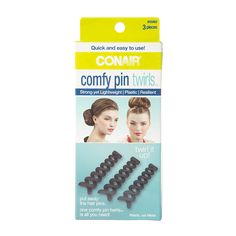 Create buns, twists, and more amazing hairstyles with Conair comfy pin twirls ™. Lightweight but resilient, your styling options are plentiful with just one, eliminating the need for several hair pins.