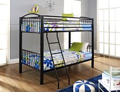 "Powell Heavy Metal ""Black"" Twin Over Twin Bunk Bed"