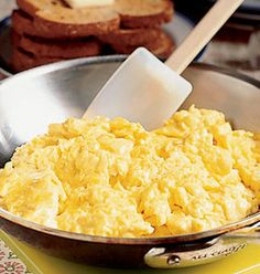 Best Scrambled Egg Recipe Ever 1. Eggs 2. Mix eggs with sour cream 3. Add Salt and Pepper 4. Grate Cheese (Sharp Cheddar is the best) 5. Add Butter once eggs are in pan 6. Once eggs are almost completely cooked add the cheese 7. Enjoy!