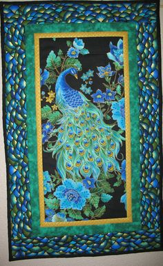 Peacock Wall Art or Table Runner Quilted by PicketFenceFabric, $31.95