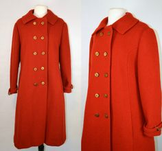 1970s Red Orange Wool Coat by KrisVintageClothing on Etsy