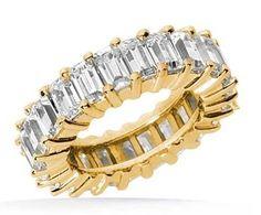 4.60 ct Emerald Cut Diamond Yellow Gold Eternity Band, 0.20 ct Each, VS1